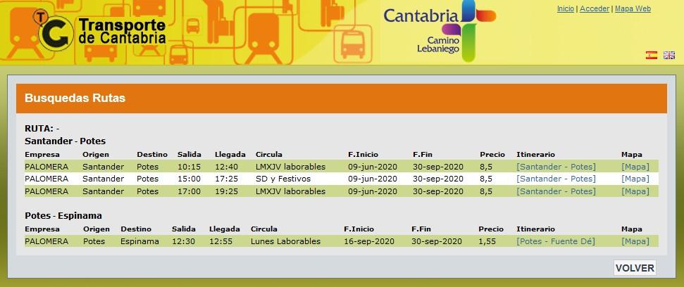Captura de la web Transporte de Cantabria. Pulse para verla más grande